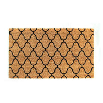 Elegant Printed Black Design Natural Coir Floor Mat - OnlyMat