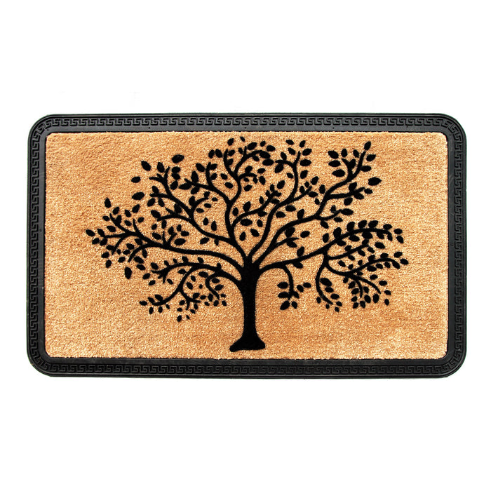 Elegant Beige Colour Soft Polypropylene Tree Flocked Floor Mat