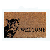 "Cat and ""Welcome"" printed Natural Coir Door Mat - OnlyMat"