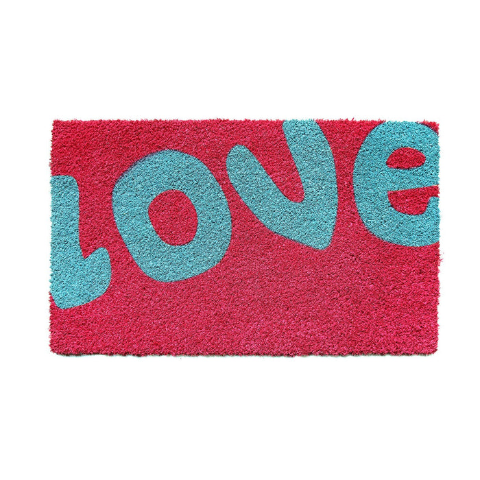 "Stylish ""Love"" printed Pink Natural Coir Floor Mat - OnlyMat"