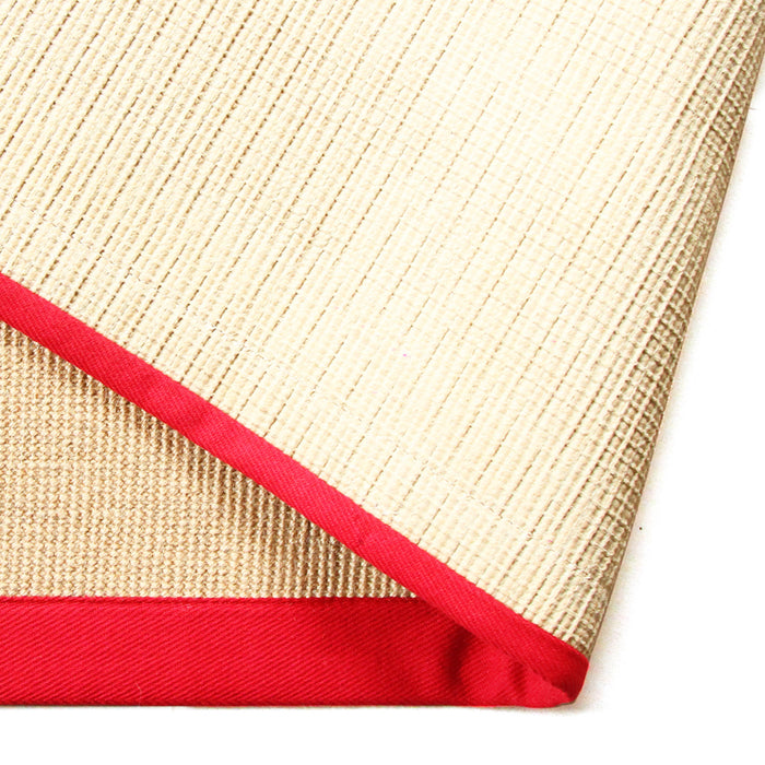 Handwoven Jute Mat with Red Border