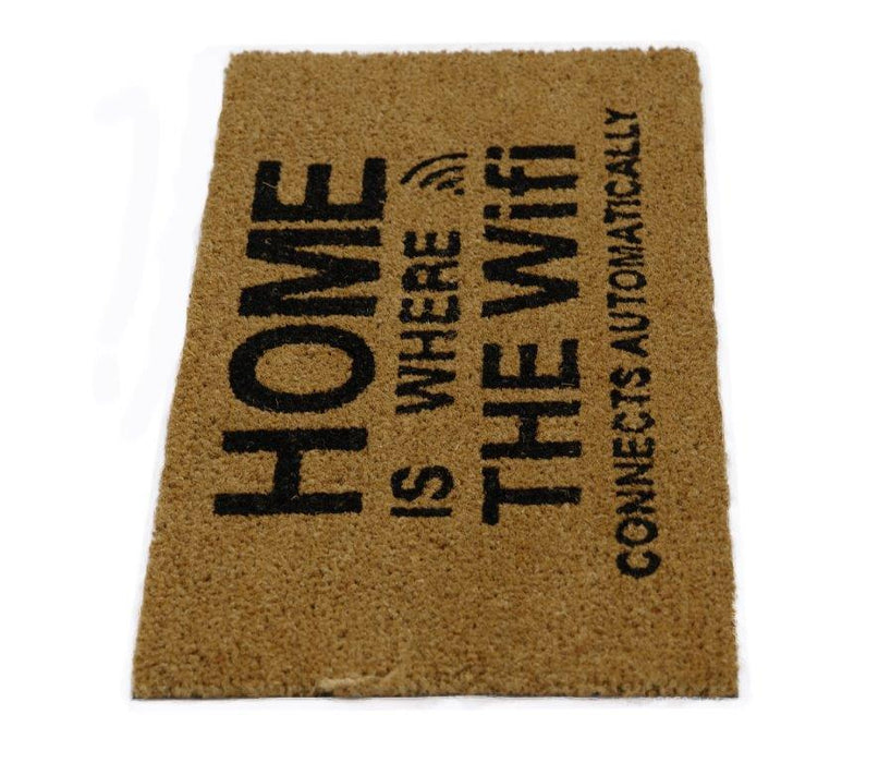 "Funny ""Home is Where the WiFi Connects Automatically"" Printed Natural Coir Floor Mat - OnlyMat"