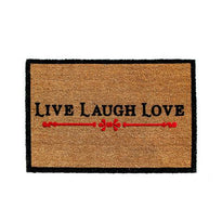 Live Laugh Love Natural Printed Coir Doormat - OnlyMat