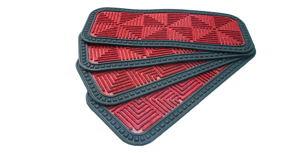 Stylish Red Anti-Slip Step and Stair Mats with Two Sided Glue Backing
