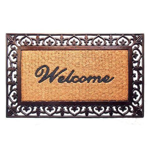 "Elegant Brown Border ""Welcome"" Printed Natural Coir & Rubber Door Mat - OnlyMat"