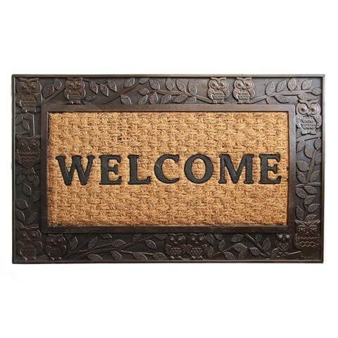 Elegant Metalic Brown Brushed Coir & Rubber Welcome Mat