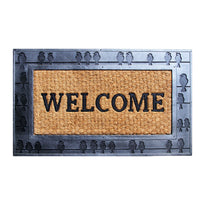 Black Coco Rubber Welcome Entrance Door Mat with Bird Design Wide Border - OnlyMat