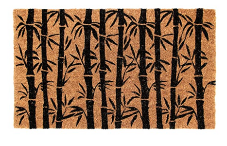 Bamboo Leaves Design Natural Coir Entrance Door Mat with Anti-slip Backing