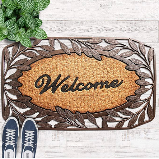 Leaf Border Moulded Rubber and Coir Welcome Designer Door Mat - 45cm x 75cm