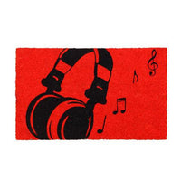 Red Colour Bleach Printed Coir Door Mat for Music Lovers - OnlyMat