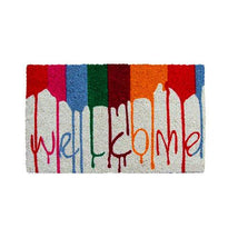 "Colourful Multi Colour  Holi Theme ""Welcome"" Printed Natural Coir Entrance Mat - OnlyMat"