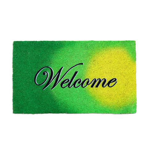 "Colourful Light Green ""Welcome"" Printed Natural Coir Entrance Mat - OnlyMat"