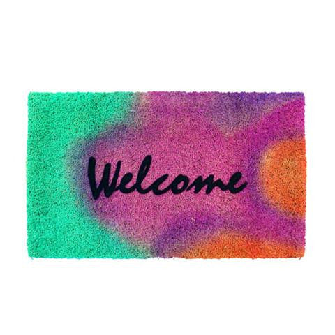 "Colourful Multi Colour ""Welcome"" Printed Natural Coir Entrance Mat - OnlyMat"