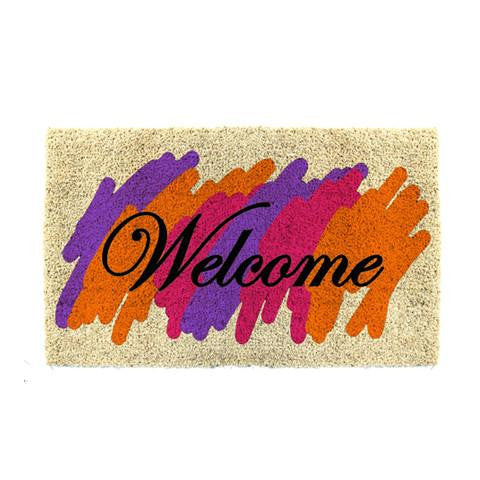 "Stylish Multi Colour ""Welcome"" Printed Natural Coir Entrance Mat - OnlyMat"