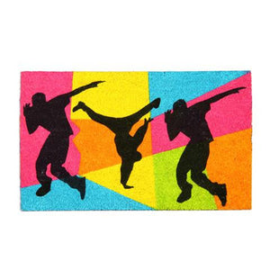 Stylish & Colourful Dance Theme Natural Coir Floor Mat - OnlyMat