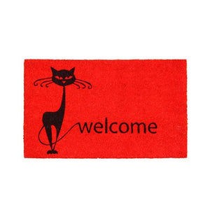 "Stylish Cat & ""Welcome"" Printed Red Natural Coir Entrance Mat - OnlyMat"