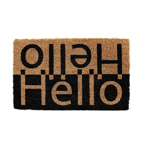 "Bidirectional ""Hello"" Printed Natural Coir Door Mat - OnlyMat"