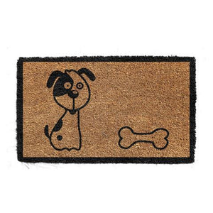 Cute Puppy and Bone Dog Printed Natural Coir Floor Mat - OnlyMat