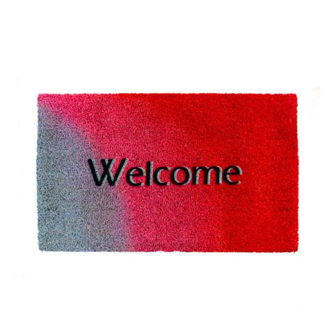 "Stylish Grey & Red  ""Welcome"" Printed Natural Coir Entrance Mat - OnlyMat"