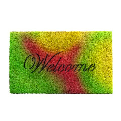 "Colouful Multi Colour ""Welcome"" Printed Natural Coir Entrance Mat"