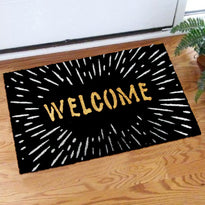 "Elegant ""Welcome"" Printed Glittering Starry Sky Natural Coir Black Door Mat - OnlyMat"