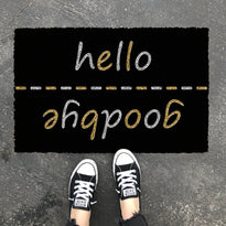 "Elegant Black ""Hello, Goodbye"" printed Natural Coir Glitter Door Mat - OnlyMat"