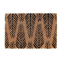Elegant Large Black Leaf printed Natural Coir Floor Mat - OnlyMat