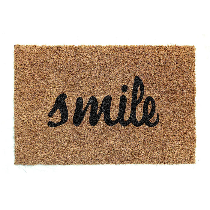 Smile Printed Natural Coir Doormat
