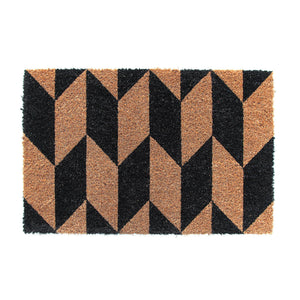 Elegant Black and Brown Herringbone pattern Natural Coir Floor Mat - OnlyMat