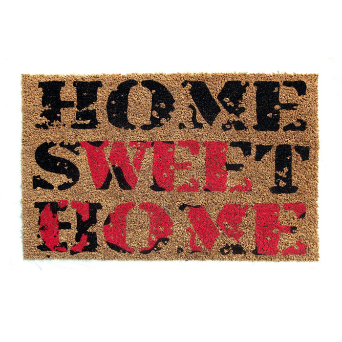 "Red and Black color ""Home Sweet Home"" Printed Natural Coir Door Mat - OnlyMat"