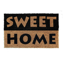 "Elegant Black & Brown ""Sweet Home"" Printed Natural Coir Floor Mat"