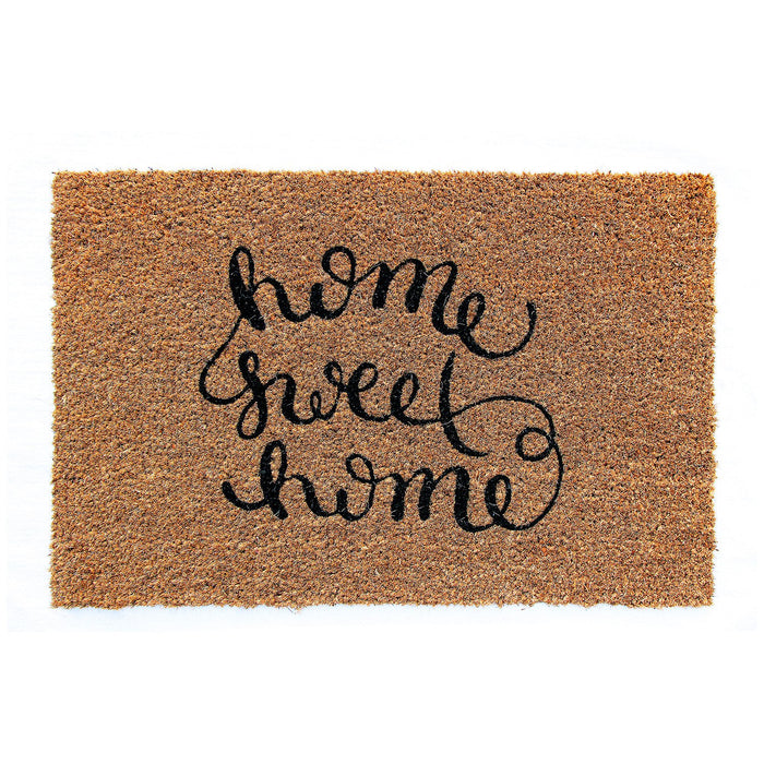 "Elegant Handwritten ""Home Sweet Home"" Printed Natural Coir Floor Mat"