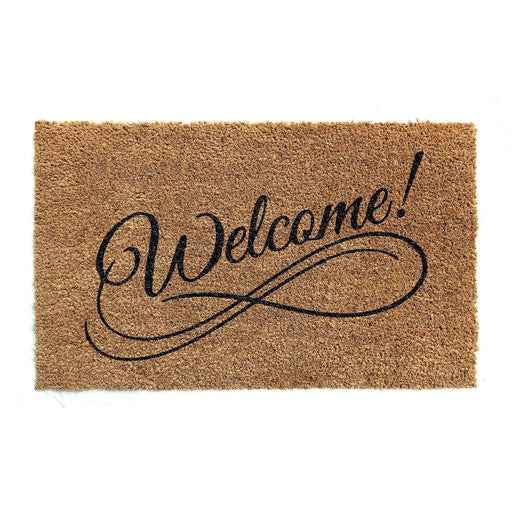 "Elegant ""Welcome"" Printed Natural Coir Door Mat - OnlyMat"