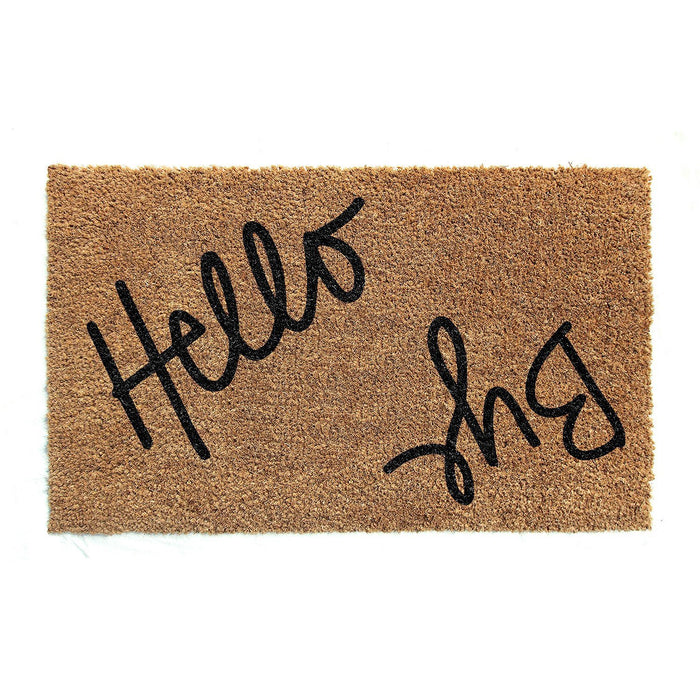 """Hello Bye"" printed Natural Coir Entrance Floor Mat"