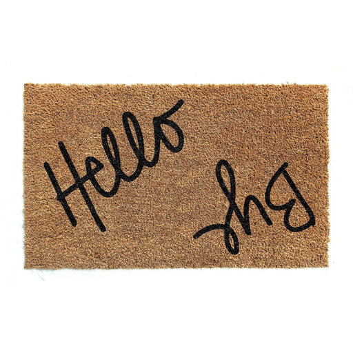 "Elegant Handwritten ""Hello Bye"" Printed Natural Coir Door Mat - OnlyMat"