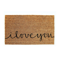 "Elegant Handwritten ""I Love You"" Natural Coir Floor Mat - OnlyMat"