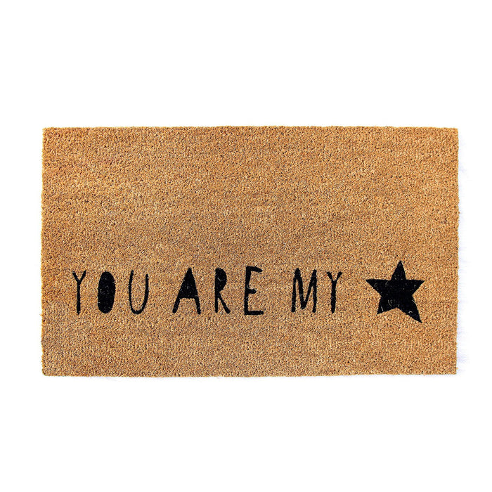 "Elegant ""You are My Star"" Printed Natural Coir Floor Mat - OnlyMat"