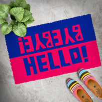 "Colourful Blue and Red ""Hello, Bye Bye"" printed Natural Coir Door Mat"