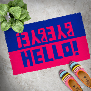 "Colourful Blue and Red ""Hello, Bye Bye"" printed Natural Coir Door Mat - OnlyMat"