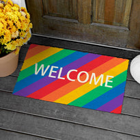 "Colourful Rainbow Themed ""Welcome"" printed Natrual Coir Door Mat"