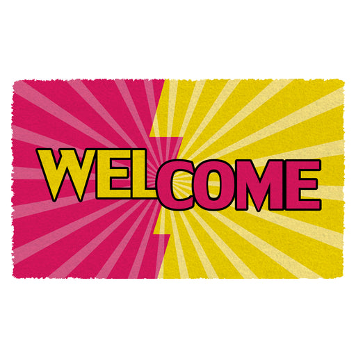 Colourful Welcome Printed Natural Coir Floor Mats - OnlyMat