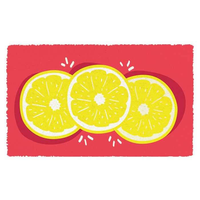 Colourful Lemon printed Natural Coir Red Floor Mat