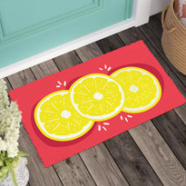 Colourful Lemon printed Natural Coir Red Floor Mat - OnlyMat
