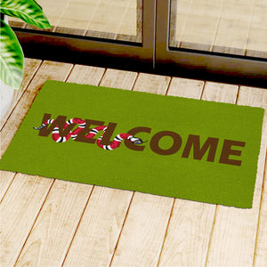 """Welcome"" and Snake Printed Green Natural Coir Entrance Mat - OnlyMat"
