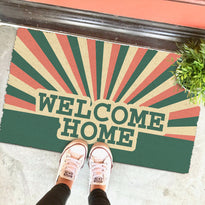 """Welcome Home"" Printed Colourful Natural Coir Floor Mat"
