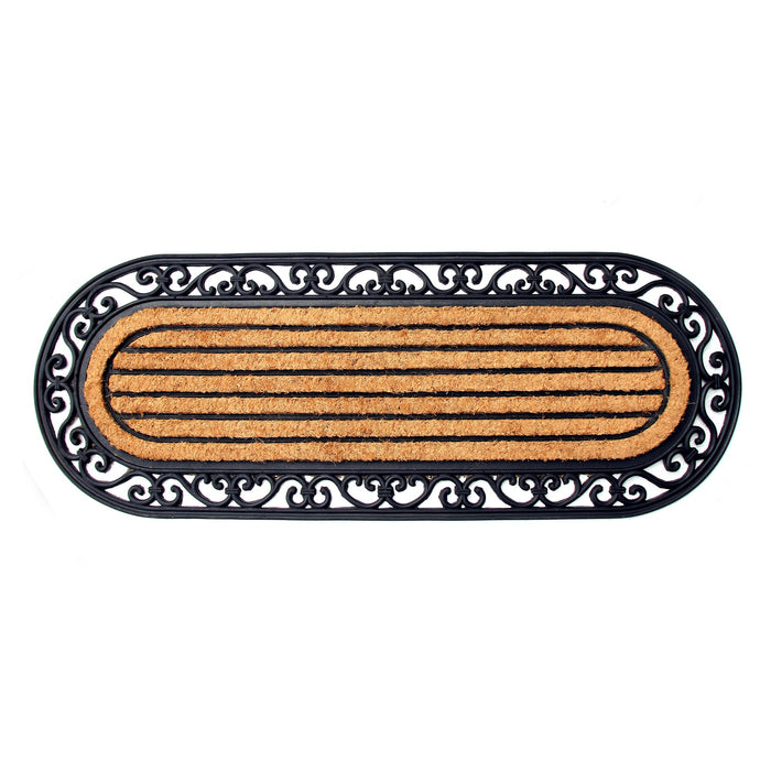 Elegant Long Oval Shaped Rubber Coir Moulded Door Mat - OnlyMat