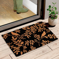 Bird and Leaf Printed Natural Coir Black Doormat