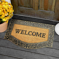 """Welcome"" Printed Natural Coir Entrance Mat with Golden Colour Border - OnlyMat"