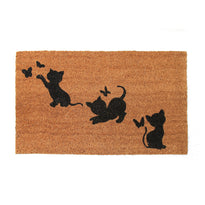 Cute Playing Kitten printed Natural Coir Door Mat - OnlyMat