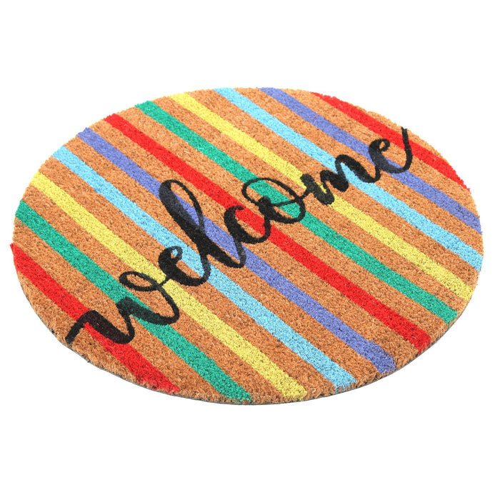 Colourful printed  'Welcome' Round Shaped Natural Coir Door Mat